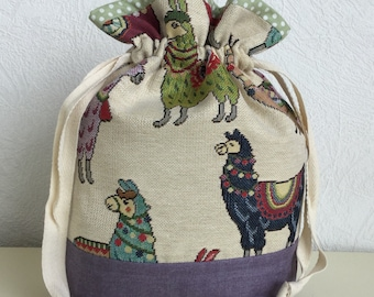 Knitters /Crafters Project Bag - Llama - Colourway three
