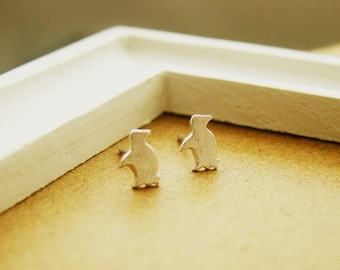 Tiny penguin fine silver ear studs, handmade, teenage daughters, bridemaid gifts, for young girls, pmc, metal clay, sterling silver