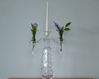 "Vintage Leaded Crystal 1940's Two Arm 4 Piece Epergne with 11-1/2"" Tall Center Vase - Center Candle Holder - Two Bud Vases"