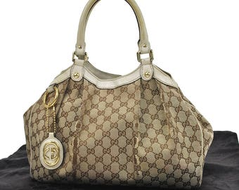334 GUCCI Authentic Shoulder Tote Bag Ribbon Vintage Old GG Pattern Brown Canvas Leather Italy