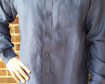 Men's Handmade Winter Cotton Long Sleeve Button Down Formal Pocket Shirt - Solid Blue - Michael H786