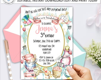 Alice in wonderland invitations Etsy