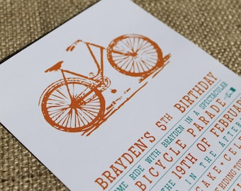 Vintage Bicycle. Invitation.  DIY Printable Design. Pinkadot Shop