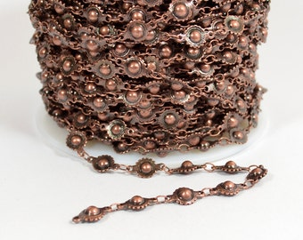 Ball and Cog Chain - Antique Copper - CH78 - Choose Your Length