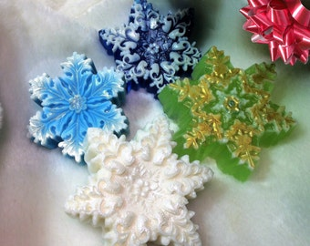 Snowflake Soap-Christmas Soap-Christmas Favor-Holiday Gift-Stocking Stuffers-Christmas Guest Party Soap-Holiday Party Favor