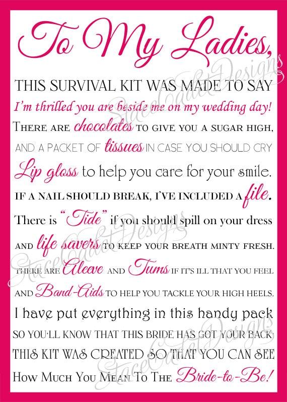 Custom Printable Bridesmaid Survival Kit Card Digital File