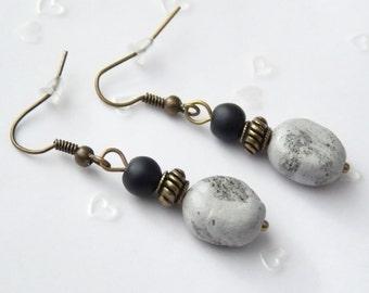 Earrings in stone look-hand modeled-gift-