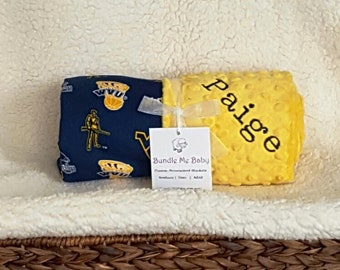 University West Virginia Baby Minky Blanket  Toddler Name Gift Set Football Basketball PERSONALIZED Oregon Alabama Arizona Auburn Penn