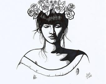 Flower Crown Art Print- PRINTABLE ART- Girl Wearing Flower Crown Illustration- Portrait Drawing- Digital Art- Downloadable Portrait Artwork