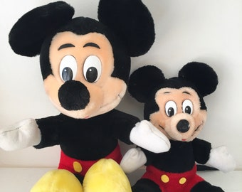 """Vintage 1980s lot of two Mickey Mouse Plush // 11"""" & 7"""""""