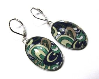 Earrings cabochon 18 x 25, brown beige green blue patterns