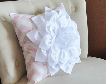 White Flower Pillow Light Pink Chevron Pillow BedRoom Decor Decorative pillow Nursery Decor