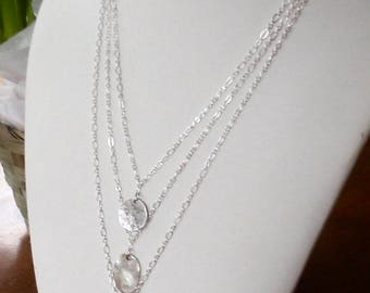 Silver Ice Three Strand Choker with Silver Charm
