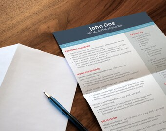 Simple Resume Template | Creative & Professional Design  | 4 Colours | Microsoft Office PowerPoint | Instant Download