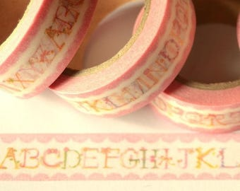 Masking tape with alphabet - pink Washi tape shabby chic