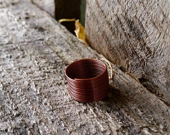 handmade minimalist simple copper wire wrap around spring ring size 6 size 6 1/2