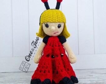 June the Ladybug Girl Lovey / Security Blanket - PDF Crochet Pattern - Instant Download - Blankie Baby Blanket
