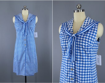 Vintage 1960s Sailor Dress / 60s Houndstooth Polka Dot Dress / Nautical Shift Dress / Saks Fifth Ave / Blue & White