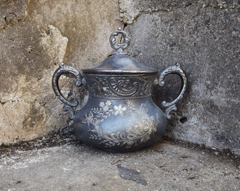 Vintage Silver Plate Sugar Bowl and LId - Ornate Victorian Sugar Bowl