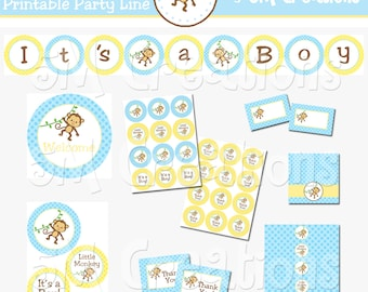 Monkey Baby Shower Decorations - It's a BOY Baby Shower Printables - Monkey Printable Party Package - Birthday Banner INSTANT DOWNLOAD Pdf