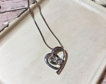 Heart with Stone Necklace - FREE SHIPPING - Pick Your Stone Color