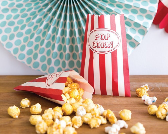 Carnival Treat Bags, Popcorn Bags, Circus Themed Party Decor, Carnival Birthday Party Bags, Circus treat Bags, Carnival Treats, Carnival