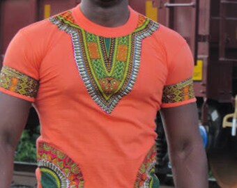 Nice dashiki orange T shirt