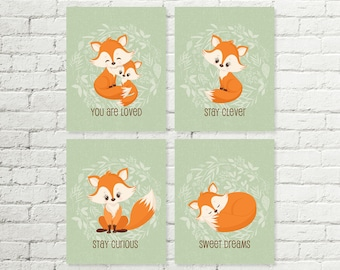 Woodland Nursery Printable Fox Wall Art Print, You Are Loved, Stay Clever, Stay Curious, Sweet Dreams Boys & Girls 8x10 Instant Download