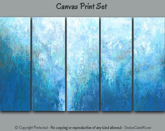 "Turquoise Abstract Art, Taupe Blue Gray, Navy Aqua, Canvas Wall Art Set, 5 Piece, Extra Large Prints, Oversized multi panel 72"" 120"""