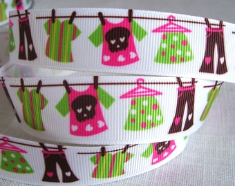 Ribbon grosgrain printed * 22 mm * Laundry clothes clothesline - sold by the yard