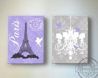 Eiffel Tower Chandelier Paris Bedroom Decor , Girls Room Decor - canvas art, Baby Girl Nursery Decor , Purple and Gray Decor