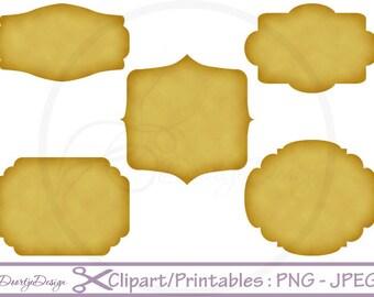 Clip Art Vintage Paper Frames Labels tags Digital Frames Digital, Old paper clipart frames Digital Border, PNG Kraft Printables