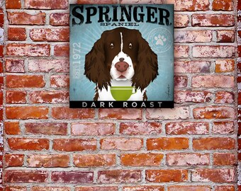 Springer Spaniel dog Coffee Company illustration graphic art on canvas by stephen fowler