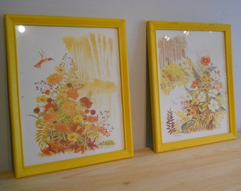Set of framed nature scenes prints 70's sunny yellow