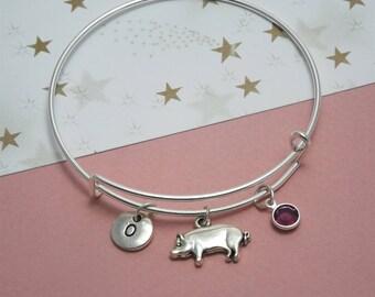 Pig bracelet Pig bangle Pig gifts girls Silver pig charm bracelets Farm animal jewelry Pig jewelry Hog gifts Farm bracelet Farm animal charm