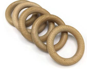 Natural wood bleechwood ring 70 mm - 5 pieces
