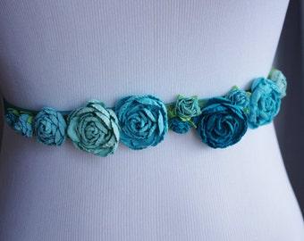 Teal Turquoise Flowers Wedding Sash Belt - Small Shabby Chic Roses Flower Girl Sash