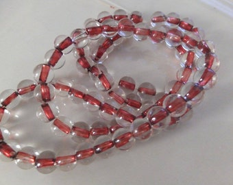 "6mm Red Center Glass Beads 15"" Strand"