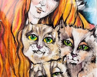 An angel and her three cats, original pen and watercolor pencils drawing, painting