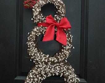 Christmas  Wreath - Snowmen Wreath - Snowman Wreath - Choose Scarf  - Three Sizes-