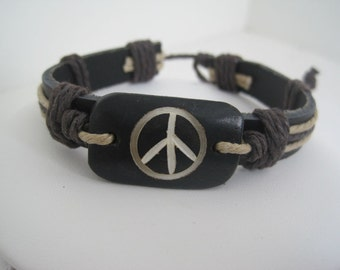 Peace Sign Center Leather Cuff