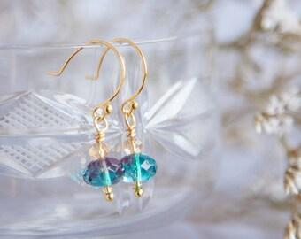 Tiny Boho Earrings, Blue Green Earrings, Icy Blue Earrings, Blue Earrings, Tiny Gold Earrings, Blue Earrings, Ice Earrings, Cute Earrings