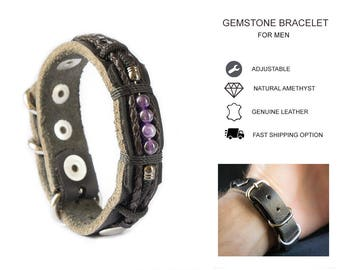 Men's Leather Bracelet Wristband with Amethyst Gemstones