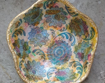 Handcrafted candy plate Oriental style handmade paper mache bowl Handpainted fruit dish Home accents Centerpieces Unique art decor Gift idea