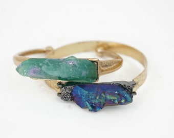 Raw Crystal Cuff Bracelet (Purple and Green)
