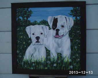 White Boxers Wood Picture OOAK