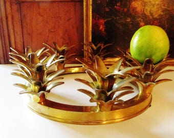 Vintage Brass Pineapple Crown Candle Holder, Hollywood Regency Pineapple Candlestick Ring, Palm Beach Decor