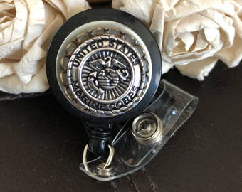 Marine corps badge reel, military gift, Marine corps gift, marine corps wife, marine corps, mom,badge reel, men's id holder clip