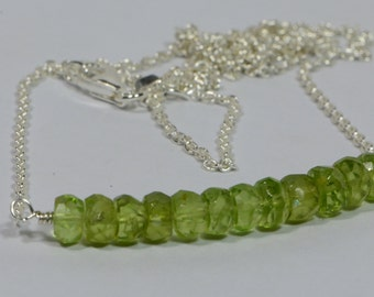 Birthstone Necklace Natural Peridot Necklace On Sterling silver cable Chain  Gemstone Jewelry