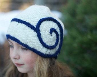 Navy and Cream Swirl Hat